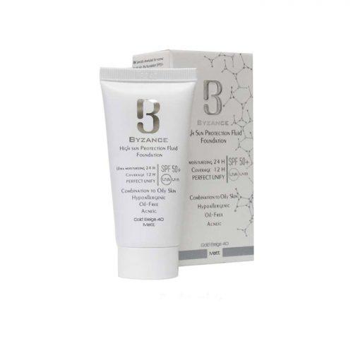 ضد آفتاب کرم پودری بیزانس byzance با +SPF50 مخصوص پوست های چرب