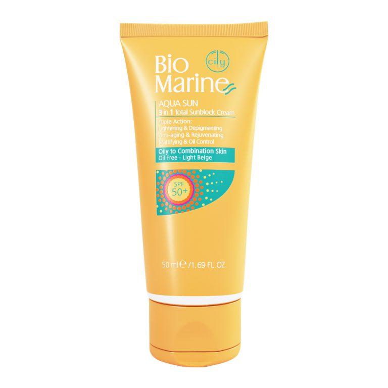 کرم ضد آفتاب روشن کننده و ضد چروک SPF50 مناسب پوست های چرب و مختلط بایو مارین