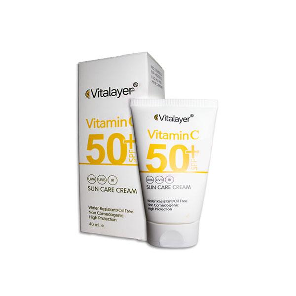 ضد آفتاب ویتامین C ویتالایر spf50+ بدون رنگ Vitalayer